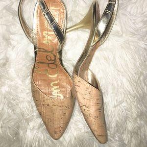 Sam Edelman beige gold shoes size 4 M
